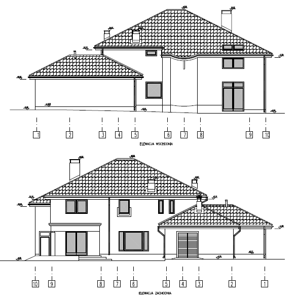 Home design F type , elevation eastern and western