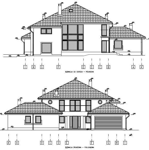 Home design F type, elevation north and south.